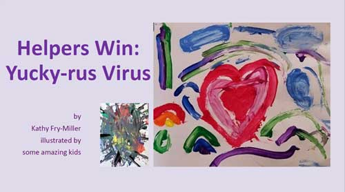 Helpers Win: Yucky-rus Virus book cover with a child's drawing of a heart